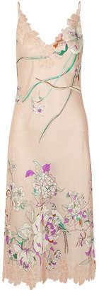 Carine Gilson Chantilly Lace-paneled Printed Silk-satin Chemise - Blush