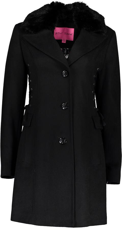 Betsey JohnsonBlack Lace-Up Side Wool-Blend Coat