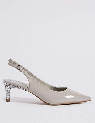 Marks and Spencer Wide Fit Kitten Heel Slingback Court Shoes