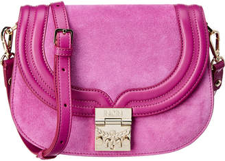MCM Small Trisha Suede & Leather Saddle Crossbody