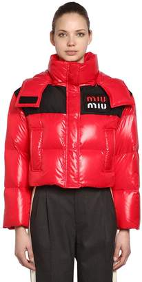 Miu Miu Hooded Nylon Cropped Down Jacket