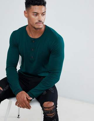 Religion Muscle Fit Knit Sweater In Green With Grandad Neck