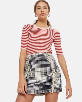 Topshop Boucle Fringe Mini Skirt