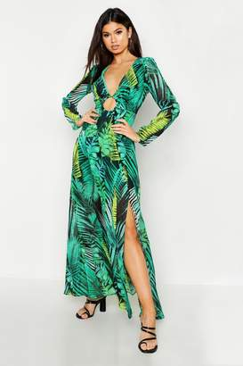 boohoo O Ring Plunge Front Palm Print Maxi Dress