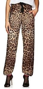 Dolce & Gabbana Women's Logo-Striped Leopard-Print Crepe Track Pants