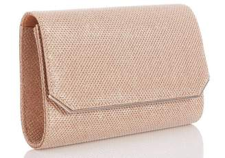 Quiz Rose Gold Textured Shimmer Clutch Bag