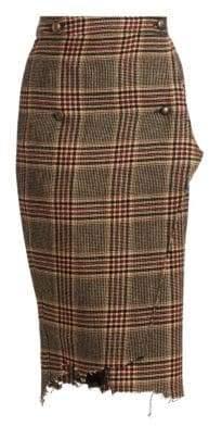 Vetements Check& Plaid Wool Handkerchief Wrap Pencil Skirt
