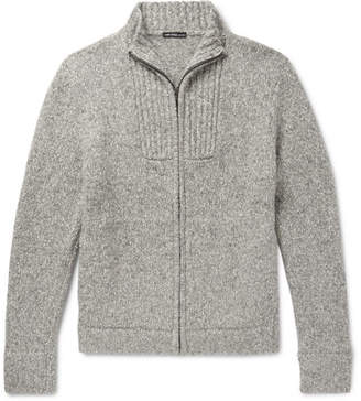 James Perse Mélange Cotton-Blend Zip-Up Cardigan