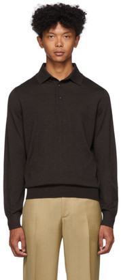 Ermenegildo Zegna Brown Silk and Cashmere Polo