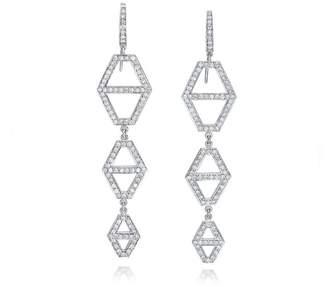 Walters Faith Keynes 18K Three Drop Diamond Hexagon Earrings