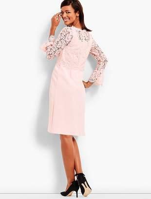 Talbots Lace Bodice Flounce Sleeve Dress