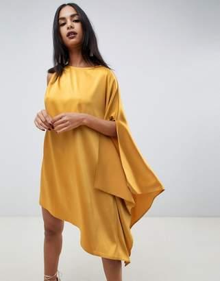 c25be1dfbe0fa9 Asos Design DESIGN one shoulder drape satin midi dress