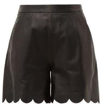 RED Valentino Scalloped Hem Leather Shorts - Womens - Black