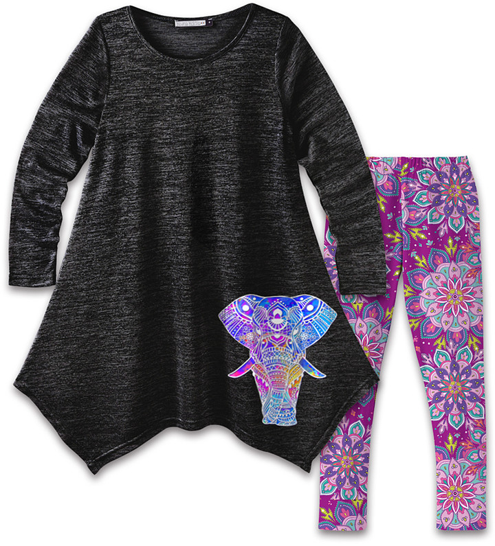 Black Elephant Handkerchief Dress & Purple Floral Leggings - Girls