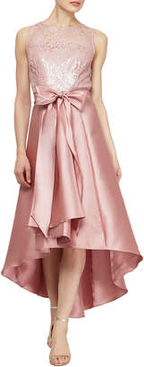 Ignite Sheer Lace Mikado Cocktail Dress
