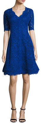 Rickie Freeman For Teri Jon Floral Lace Fit-and-Flare Cocktail Dress, Royal