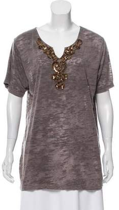 Torn By Ronny Kobo Embellished V-Neck T-Shirt