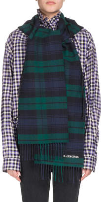 Balenciaga Tartan Hooded Wool Scarf, Blue/Green