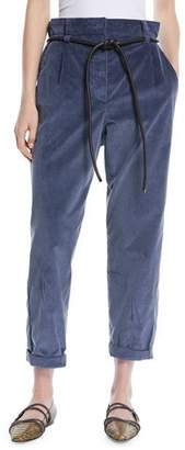 Brunello Cucinelli Gathered-Waist Straight-Leg Corduroy Pants with Leather Rope Belt