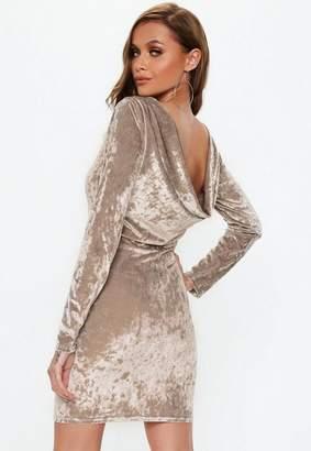 Missguided Gray Crushed Velvet Cowl Back Mini Dress