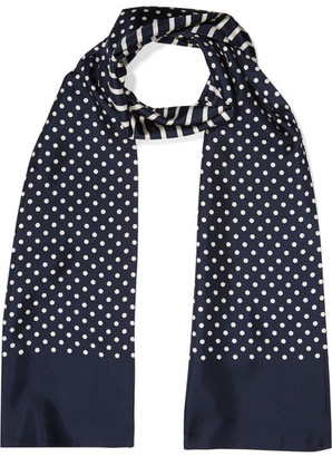 J.Crew - Reversible Printed Silk-twill Scarf - Navy $90 thestylecure.com