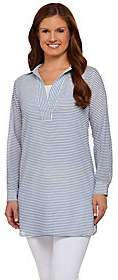C. Wonder Long Sleeve Split V-neck SheerStriped Tunic