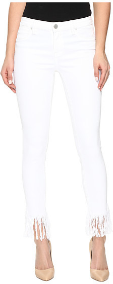 Blank NYC Blank NYC Released Hem/Fray White Crop Skinny in White Lines