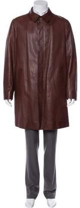 Prada Leather Button-Up Car Coat