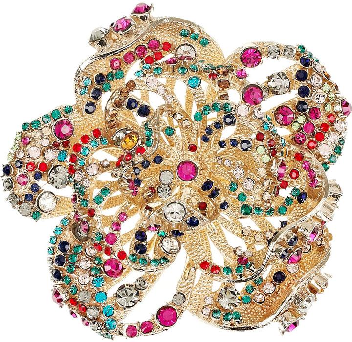 Valentino 22-karat gold Swarovski crystal rose brooch
