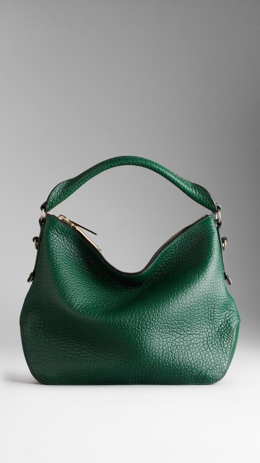 Burberry Small Heritage Grain Leather Hobo Bag