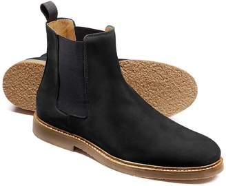 Charles Tyrwhitt Black Nubuck Leather Chelsea Boots Size 8
