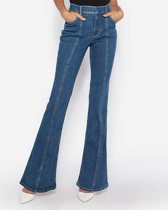 Express High Waisted Seamed Denim Perfect Bell Flare Jeans