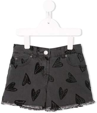 Stella McCartney heart print denim shorts