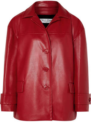 we11done - Oversized Faux Leather Jacket - Red