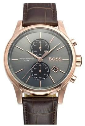 BOSS Jet Sport Chronograph Leather Strap Watch, 41mm