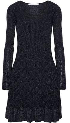 Diane von Furstenberg Perlita Metallic Cable-Knit Mini Dress