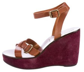 Miu Miu Miu Miu Leather Wedge Sandals