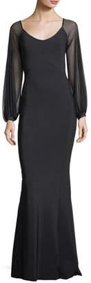 Chiara Boni Marlo Scoop-Neck Illusion Evening Gown
