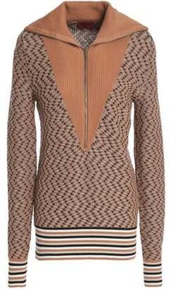 Missoni Ribbed Knit-Paneled Wool-Blend Jacquard Sweater