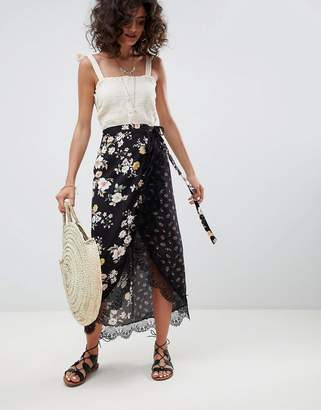 Asos Design Mixed Ditsy Floral Wrap Midi Skirt With Lace Trim