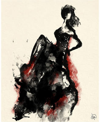 """Creative Gallery Woman in Dress with Accent Abstract Portrait Metal Wall Art Print - 16"""" x 20"""""""