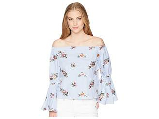 Romeo & Juliet Couture Off the Shoulder Bell Sleeve Shirt w/ Floral Embroidery Women's Blouse