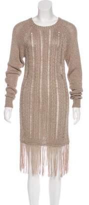 Rachel Zoe Open Knit Fringe-Trimmed Dress