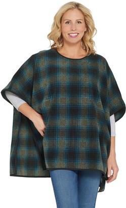 Denim & Co. Plaid Fleece Pullover Poncho