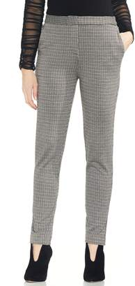 Vince Camuto Houndstooth Stretch Cotton Blend Slim Pants