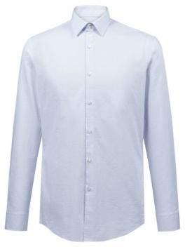 HUGO Boss Slim-fit shirt in dot-pattern cotton 14.5 Light Blue