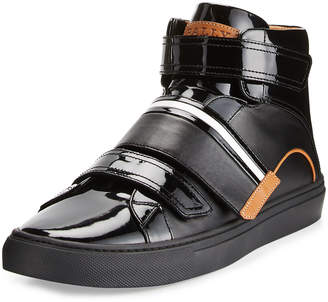 Bally Men's Herick Leather High-Top Sneakers, Black