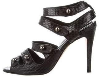Manolo Blahnik Snakeskin Strappy Sandals