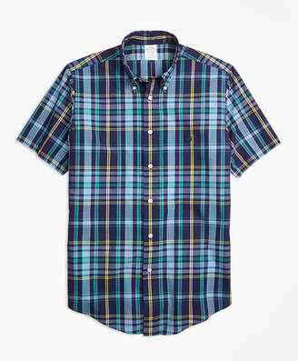 Brooks Brothers Regent Fit Slub Cotton Dark-Blue Plaid Short-Sleeve Sport Shirt
