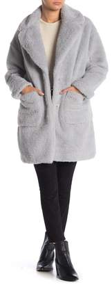 BCBGeneration Faux Fur Notch Collar Pocketed Coat
